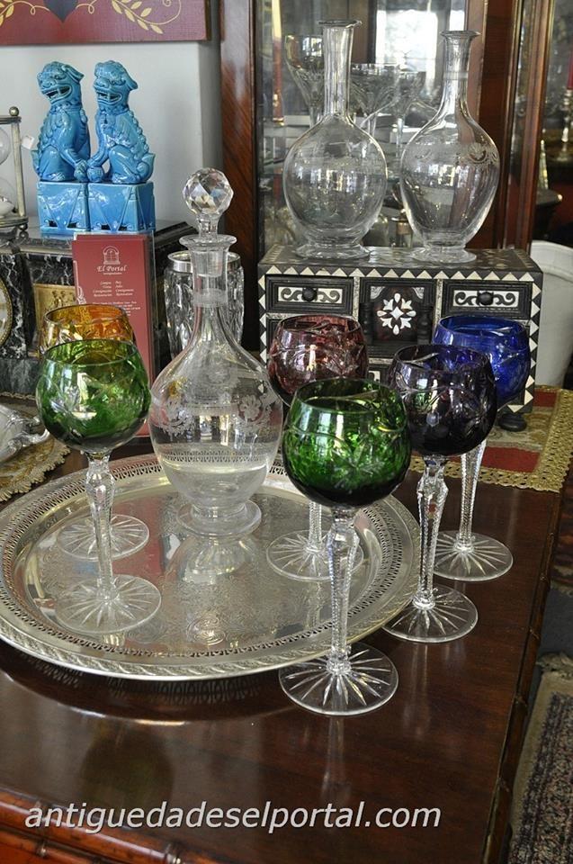 Copas de cristal Bohemia, Licoreras de Cristal San Luis.