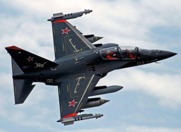 "Russian Yak-130 ""Mitten"" advanced jet trainer/ground attack aircraft."