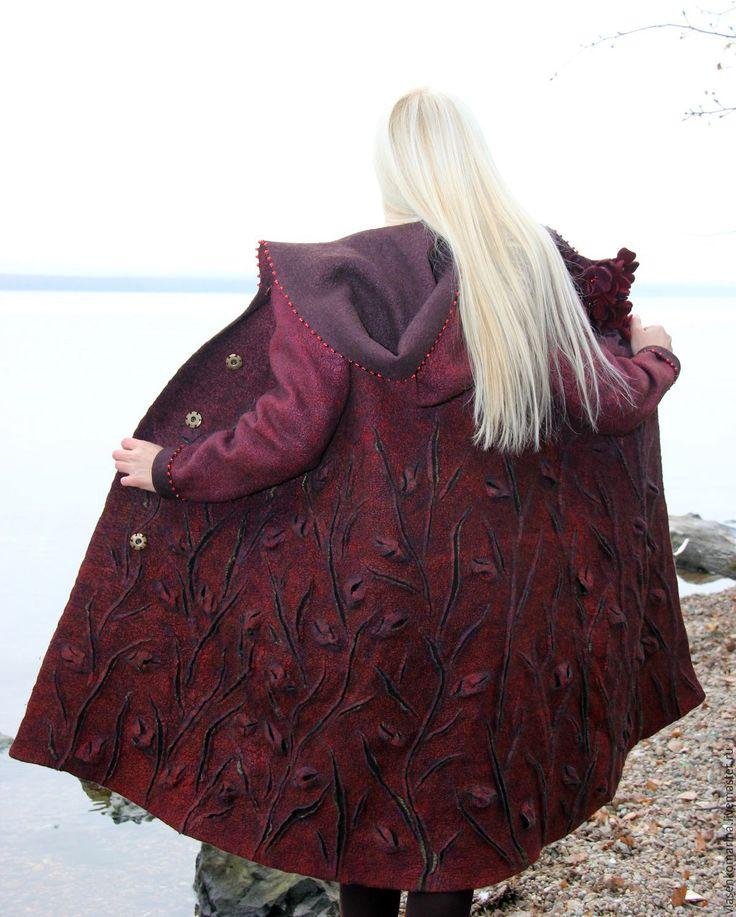 Купить Пальто валяное Тамара - бордовый, цветочный, пальто валяное, шерстяное пальто, женское пальто