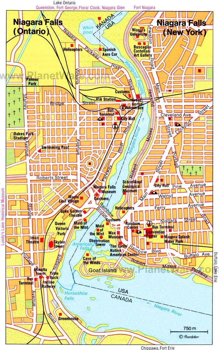Map Of Niagara Falls Canada Area Niagara Falls Map   Tourist Attractions | Niagara falls map