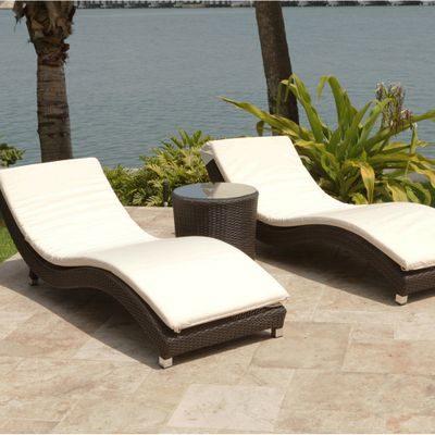 Surf 3 piece woven chaise lounge set by leisure select for Chaise 5 5 designers