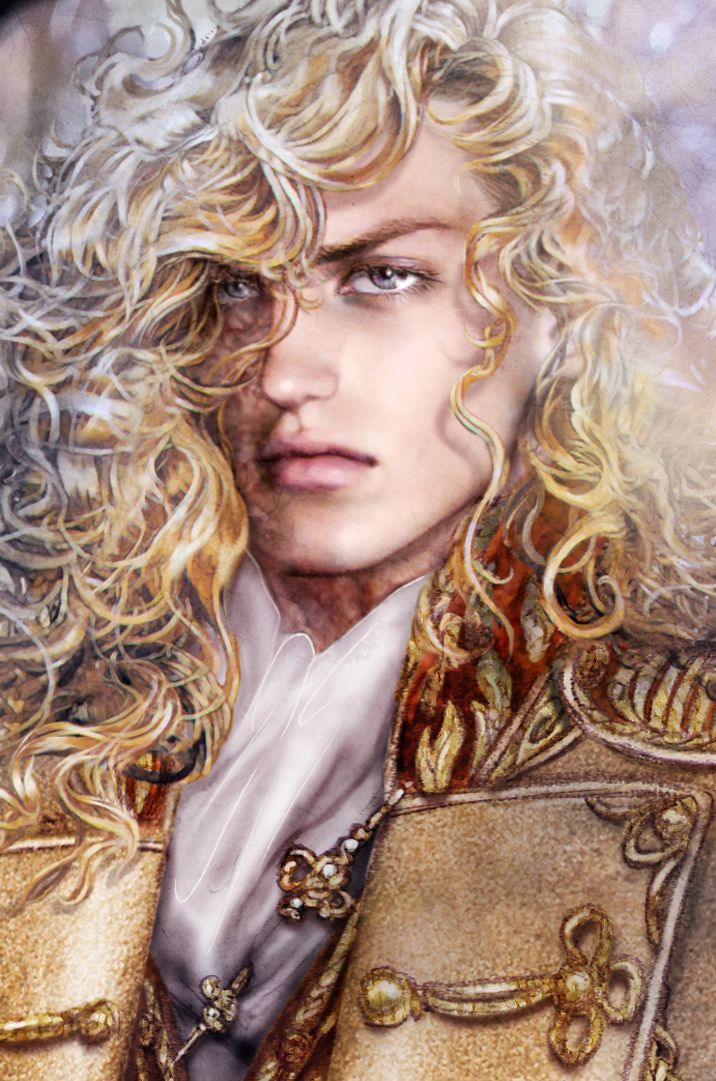 Anita Blake: Vampire Hunter - Asher with hair as the color of metallic gold and his eyes as the pale blue of a Siberian Husky.