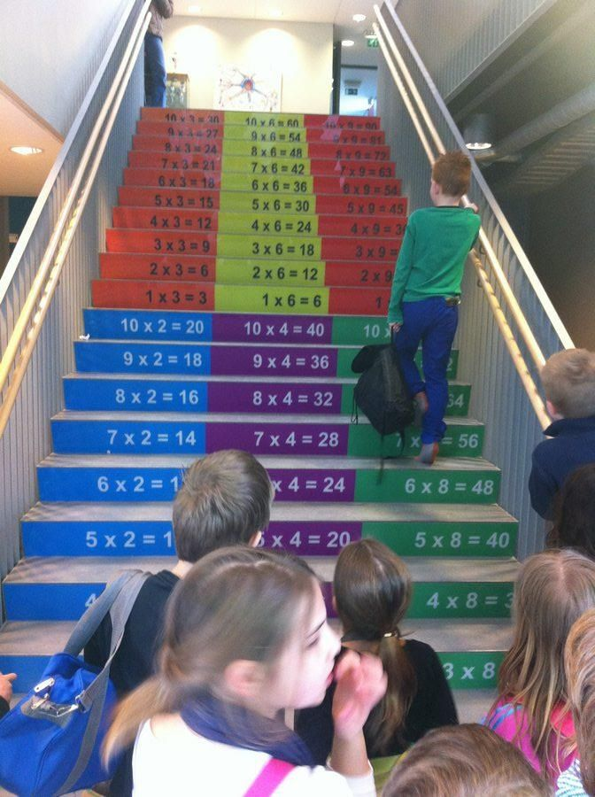 Multiplication steps - no link available, but it looks like such a clever idea! Kids could vary each day by walking up the steps from left to right to center, etc