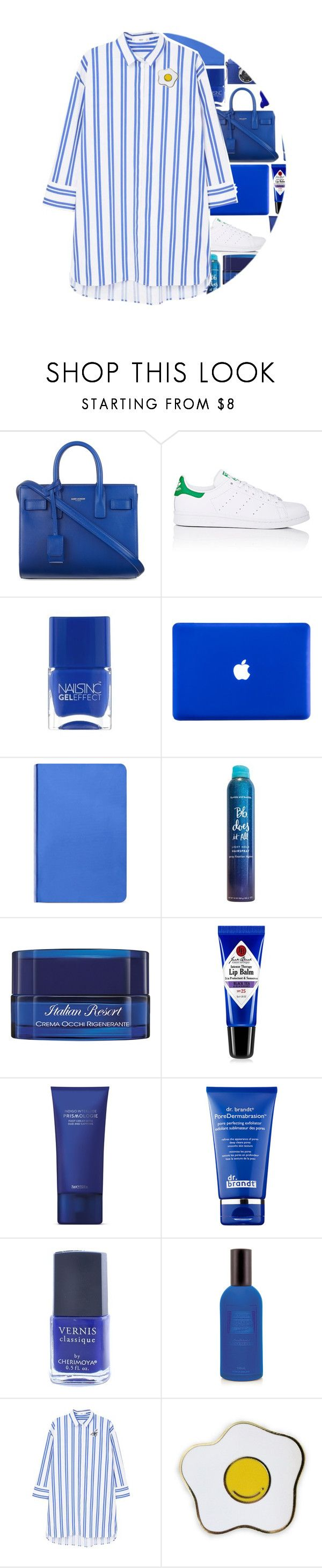 """""""blue"""" by maevekaterina ❤ liked on Polyvore featuring Yves Saint Laurent, adidas, Nails Inc., Nuuna, Bumble and bumble, Acqua di Parma, Jack Black, Space NK, Dr. Brandt and Classique"""