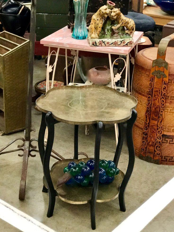 Mid Century Two Tier Brass Tray Table $285 Dallas Vintage Market Booth #777  Lula Bu0027s