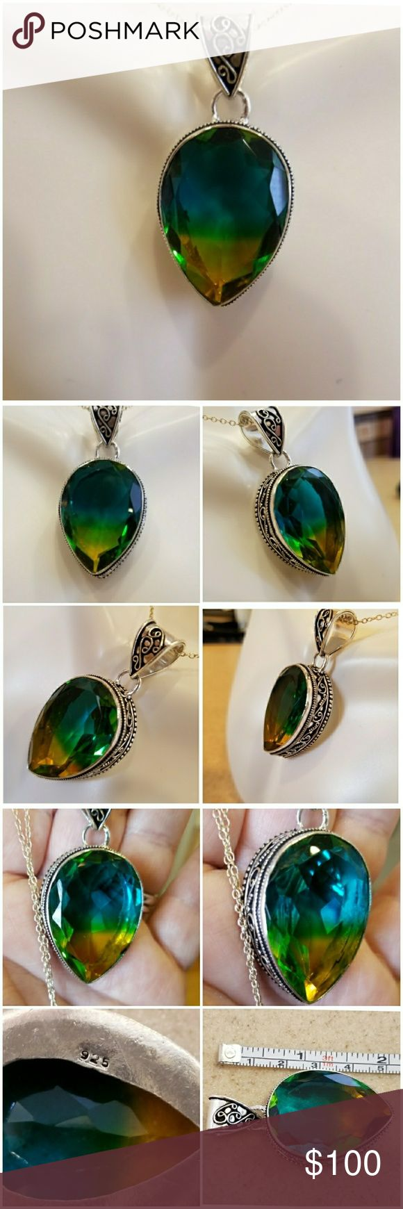 Genuine 86ct Faceted Tourmaline Pendant Look at THOSE colors!  Tri-colored Faceted Tourmaline. From top down..Blue...Green...Yellow!! Wow! Lot's of artist detail in the silver. Set in 925 stamped Solid Sterling Silver. Brand New. Never Worn. WHOLESALE Prices Always! Jewelry Necklaces