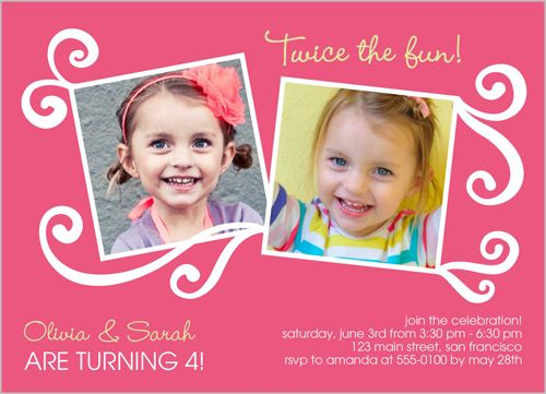 Best Twin Birthday Invitations Images On Pinterest Birthday - Birthday invitation cards twins