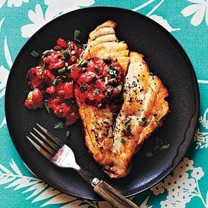 Pan-Roasted Fish with Mediterranean Tomato Sauce Recipe | MyRecipes.com