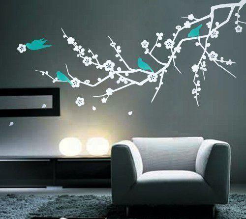 vinilo decorativo adhesivo para pared pajaro arbos