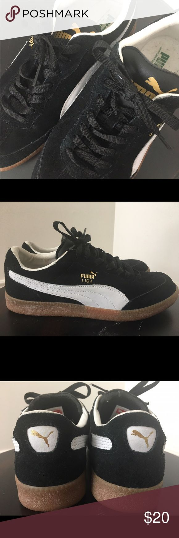 Puma Liga Sneakers Black suede Puma Liga sneakers.  Size men's US 8.  Heel to toe measure approximately 11 inches. Worn 1 or 2 times. Shows very little wear. Leather upper and rubber sole. Puma Shoes Athletic Shoes