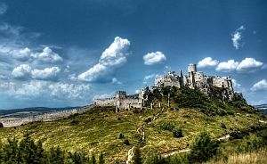 Spis Castle from distance. Between Levoca and Presov Slovakia. Listed on the UNESCO Heritage list.