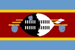 SWAZILAND - consists of 4 horizontal stripes - the top & bottom stripes are blue and the center stripe is red. The red stripe is bordered on the top & bottom by a thin yellow stripe. In the middle of the red stripe and the flag there is an emblem that consists of an ox hide combat shield from the traditional Swazi Emasotsha Regiment, as well as their assegais or spears, a Swazi fighting stick & three royal Swazi ornamental tassels called tinjobo, which are made from widow bird & loury…