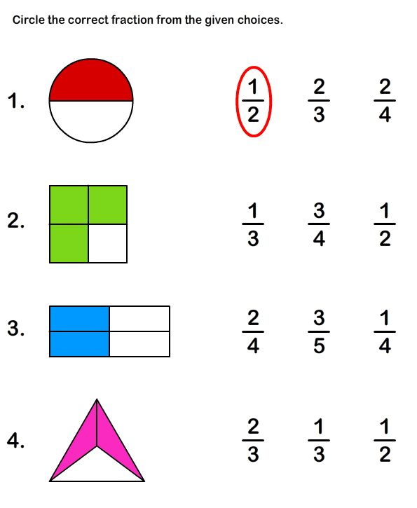 Learn fractions worksheets. Click through for more.