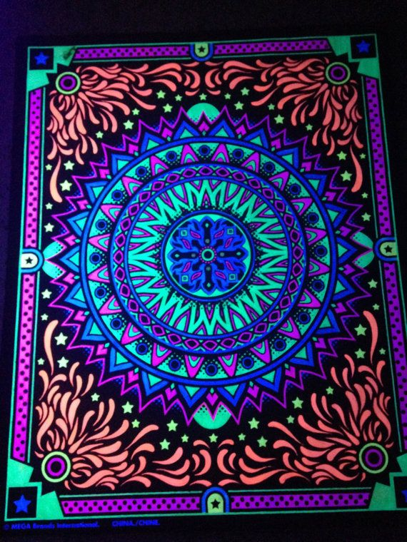 Neon Mandala Blacklight Poster 15 x 20 by WhoDoesntLikeColors