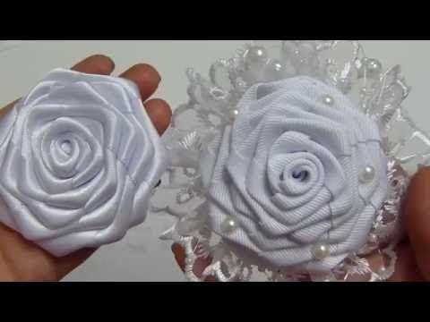 Como elaborar la Flor Rococo grande para una tiara de bautizo, video #539, Flores Liston faciles - YouTube