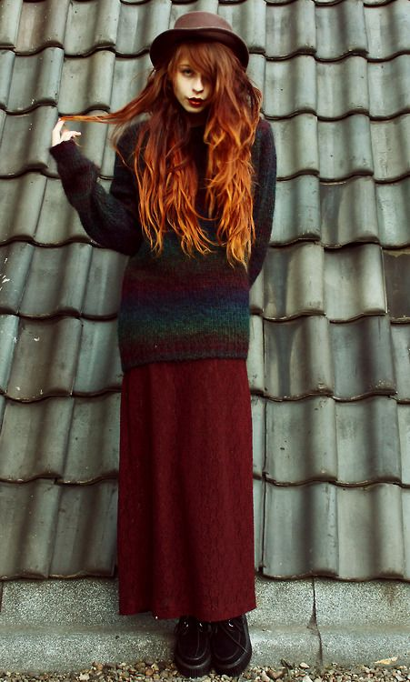 they call me redhead, love the long skirt and sweater combo