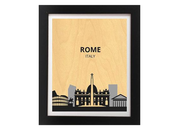 Rome City Silhouette Modern Rustic Home by TheWoodPaperShoppe