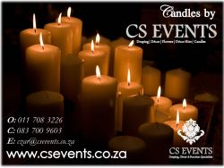 CS Events are proud to announce the launch of our Candle division – Dinner candles, tea light candles, floating candles, Unity candles with printing, Ball candles (purchase & for hire – any size), pillar candles (purchase & for hire – any size) All at extremely competitive prices. More clients / brides are opting for candles …