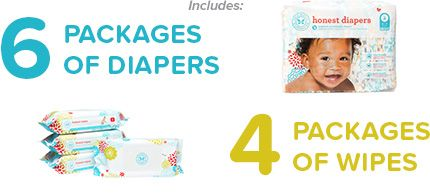 For all my momma friends - The Honest Company has the CUTEST patterned diapers....and apparently cheaper than the ones in the store. AND eco-friendly! (Jessica Alba's company) Includes 6 packages of diapers & 4 packages of wipes