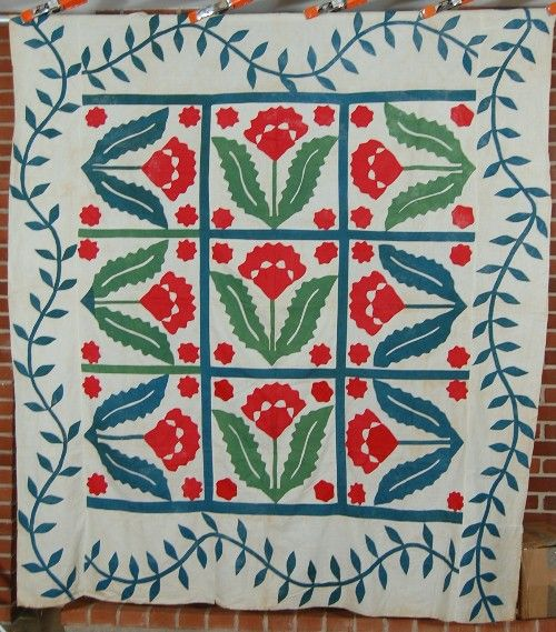 1870's Red & Green Coxcomb Applique Antique Quilt Top! | eBay: Applied Quilts, Applique Quilts, Border Wall, Antiques Quilts, Coxcomb Appliques, Appliqué Antiques Vintage, Quilts Patchwork, Antiques Vintage Quilts, Quilts Antiques
