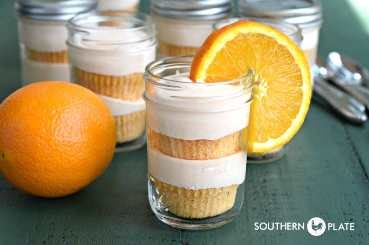 Orange Creamsicle Cakes In Jars ~ http://www.southernplate.com