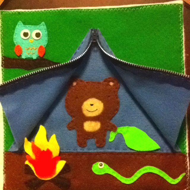 Forest Friends Camping Quiet Book page