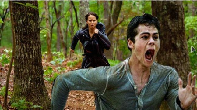 I swear... I can't breath... His Face!!!!!!! HAHAHAHAHAHA Hunger games and Maze runner