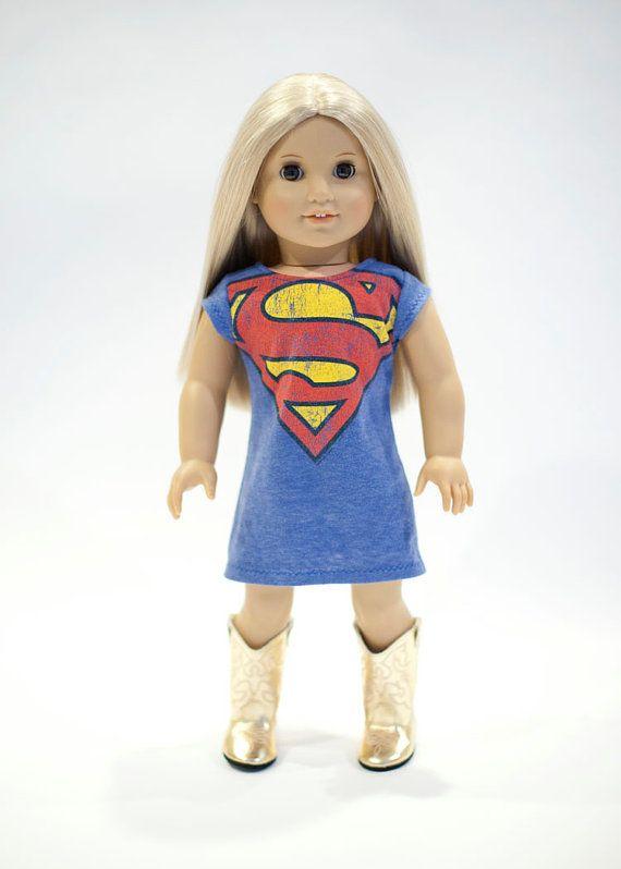 American Girl Doll upcycled superman dress by EverydayDollwear, $15.00