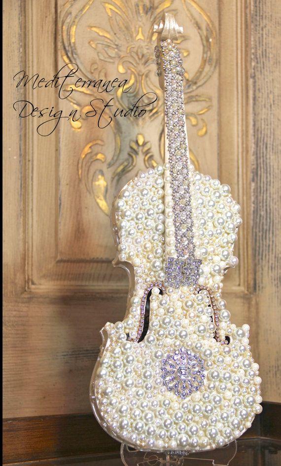 Embellished violin altered violin pearl violin for Violin decorating ideas