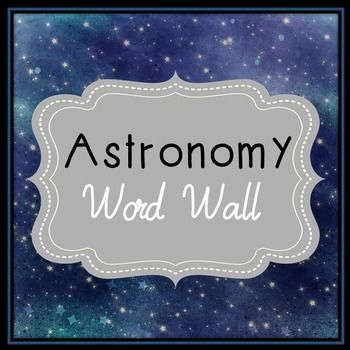 "Astronomy Word Wall. Each of the 72 astronomy terms has been created in black and white for super easy printing. It's easy to make them stand out with your choice of colored paper!Every page has two terms that can be cut down the middle. This item has been formatted to be printed on 8.5"" x 11"" paper."