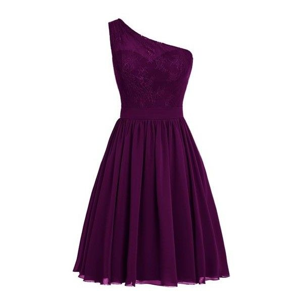 Dresstells? One Shoulder Prom Dress Women's Short Evening Party Dress:... ($117) ❤ liked on Polyvore featuring dresses, purple evening dresses, one shoulder cocktail dress, purple dress, short prom dresses and special occasion dresses