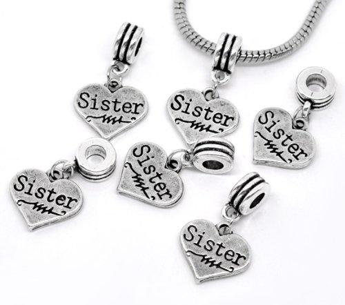 """ Sister on Heart Charm Dangle ""Antique'd Silver Bead Charm Spacer Pandora Troll Chamilia Biagi Bead Compatible"