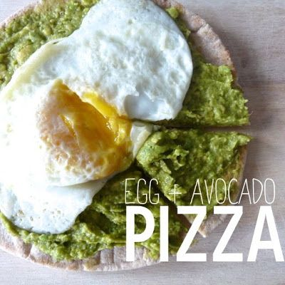 Egg & Avocado Breakfast Pizza.  Yummy yummy yummy. Quick, easy and so very good. Two thumbs up