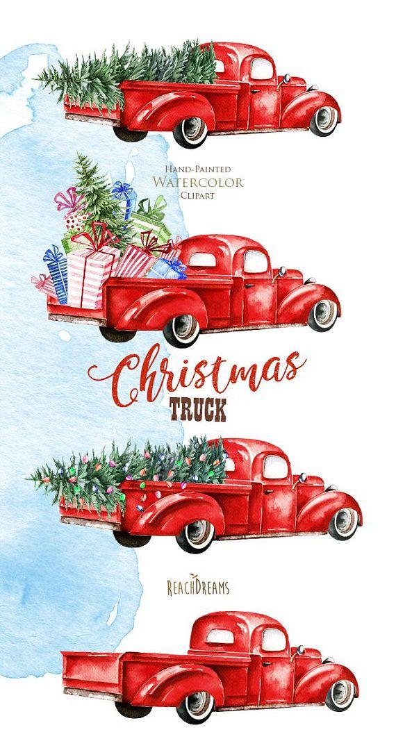 Watercolor Christmas Truck, Vintage Red Pickup, Pine Tree ...