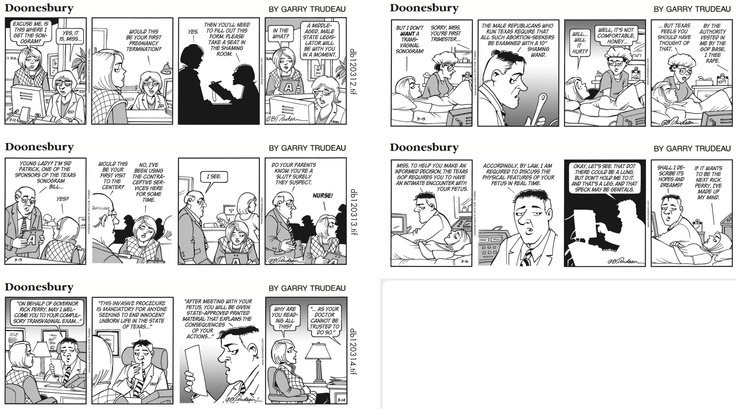 The great Doonesbury abortion strips.
