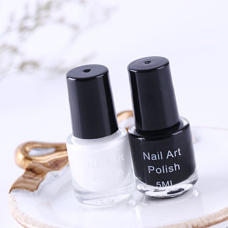 White & Black Color Nail Art Stamping Polish