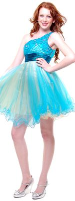 2012 Homecoming Dresses Whimsical Aqua with Beige Tulle Party Dress - 4 to 16