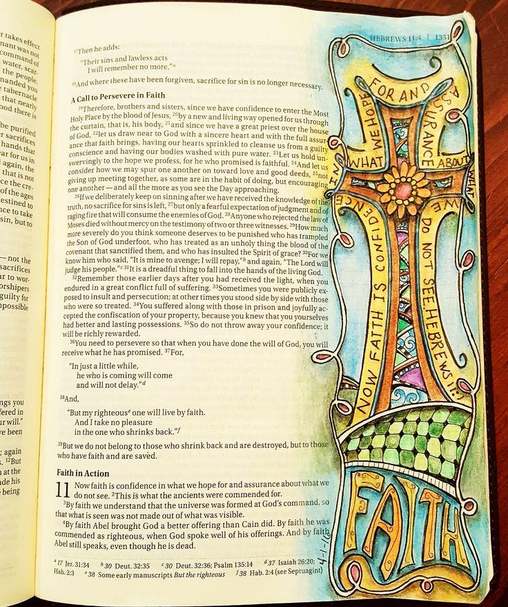 Hebrews 11:1 The Original Bible Art Journaling Challenges Series 18  http://www.rebekahrjones.com/bible-art-journaling-challenge/the-original-bible-art-journaling-challenge/
