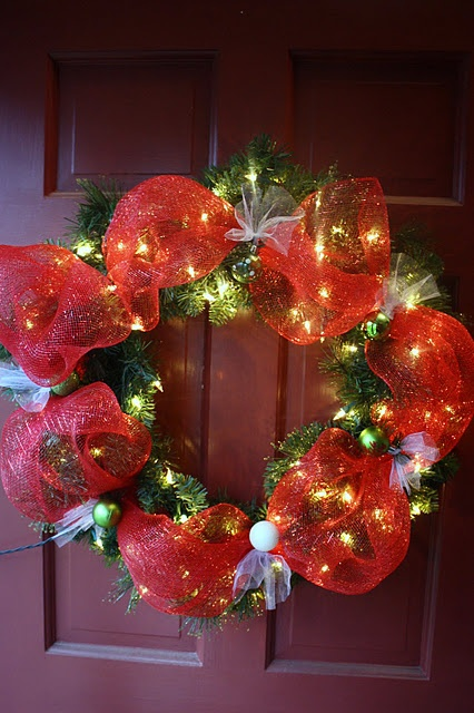 Christmas deco mesh wreath with lights