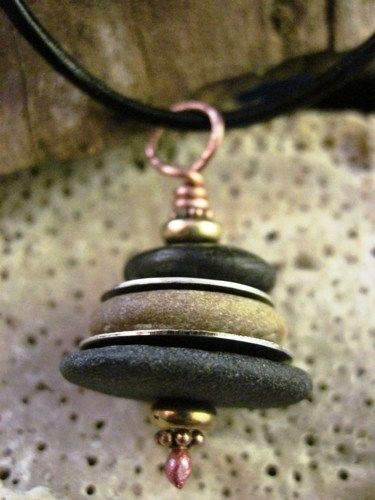 Silver and Beach Rock Stacked Cairn Pendant - Om rocks