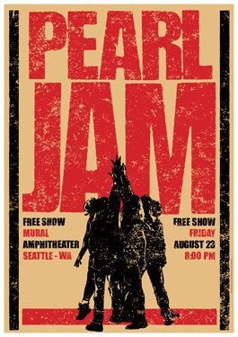 PEARL JAM 23 September 1991 Seattle Usa - concert live show artistic poster