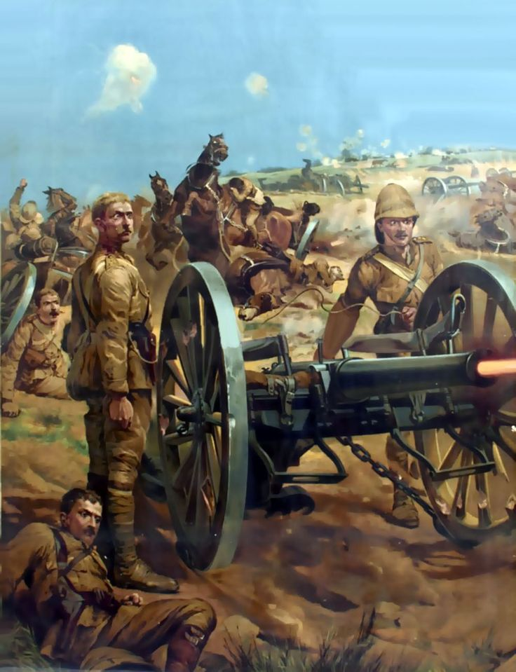 British artillery crew in battle during the Boer War- by Richard Caton Woodville