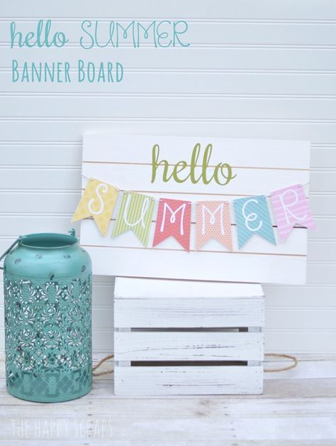 Simple DIY Hello Summer Banner for your summer home decor.