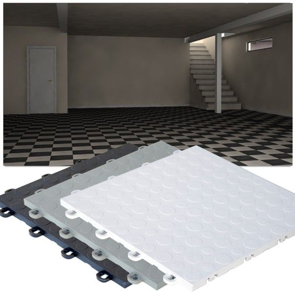 High-Impact Polypropylene Floating Basement Tiles are designed especially for your basement. Because basements tend to be humid, these interlocking tiles are designed with grooves underneath for air and water passage. This is needed so that mold does not build up between the tiles and the concrete floor. They can easily be cleaned using a sponge mop with mild soap and water. They are made from High-Impact Polypropylene material that can withstand high rollover weight capacity.