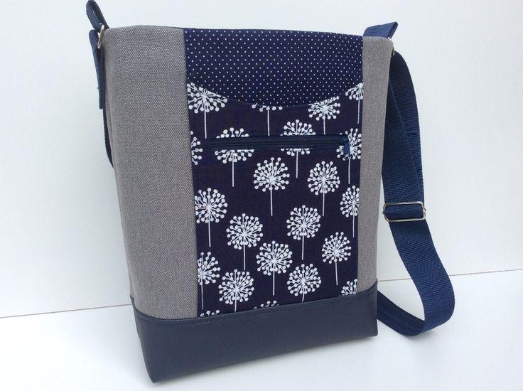 blau-graue Umhängetasche Pusteblume // blue-grey canvas bag with dandelions by Millionbags via DaWanda.com