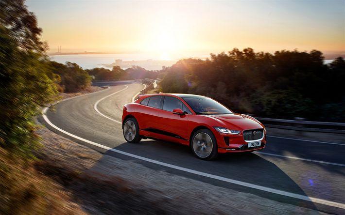 Herunterladen hintergrundbild jaguar i-pace, 2019, kompakten crossover, new red i-pace, britische autos, landstraße, sonnenuntergang, jaguar