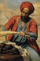 """Leopold Carl Müller: Orientalischer Händler. Detailstudie nach dem Gemälde """"Markt in Kairo"""" von 1878. Heute im Belvedere, Wien aus unserer Rubrik: Gemälde des 19. Jahrhunderts"""