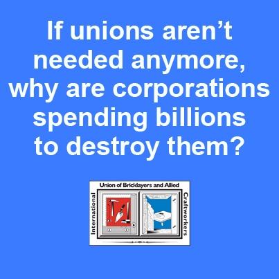 "For almost 40 years now, up to 300 large corporations have spent billions of dollars on pushing ALEC's model legislations, including the so-called ""Right-to-work,"" to attack labor unions and workers' rights. Our question is: If unions aren't needed anymore, why are corporations spending billions to destroy them? #1u"