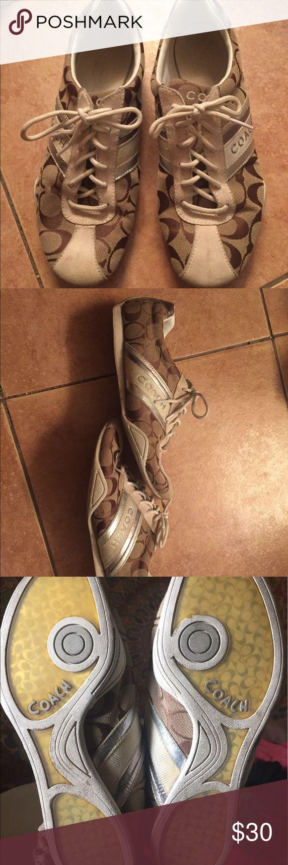 Authentic Coach tennis shoes Authentic brown Coach tennis shoes. Normal wear. Coach Shoes Sneakers