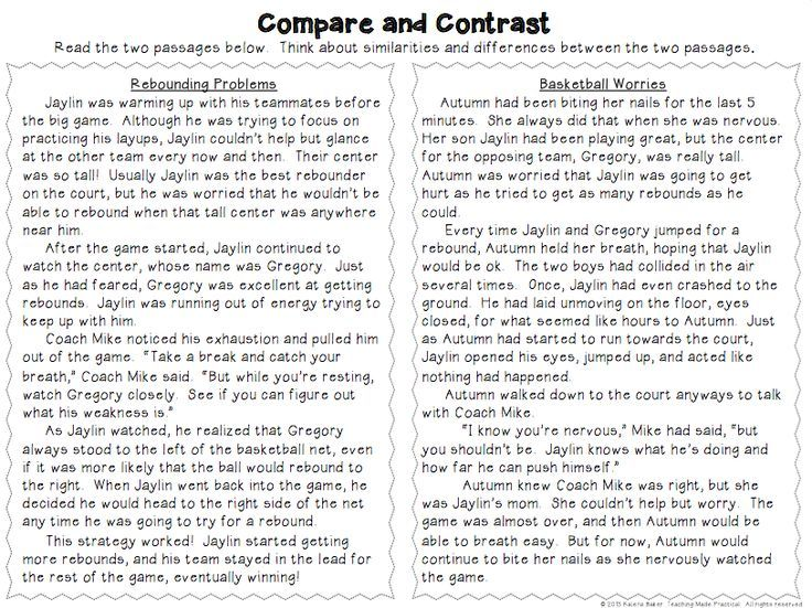 best compare contrast images compare and compare and contrast activities poems reading passages and more